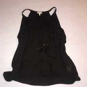 Black silk tank top with ties